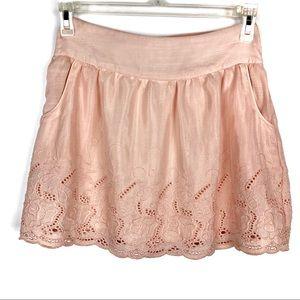 Stooshy peach embroidered mini skirt Size M